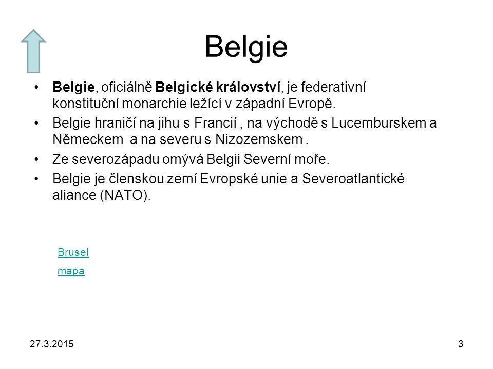27.3.20153 Belgie Belgie, oficiálně Belgické království, je federativní konstituční monarchie ležící v západní Evropě. Belgie hraničí na jihu s Franci