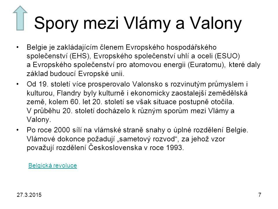 Spory mezi Vlámy a Valony Belgie je zakládajícím členem Evropského hospodářského společenství (EHS), Evropského společenství uhlí a oceli (ESUO) a Evropského společenství pro atomovou energii (Euratomu), které daly základ budoucí Evropské unii.