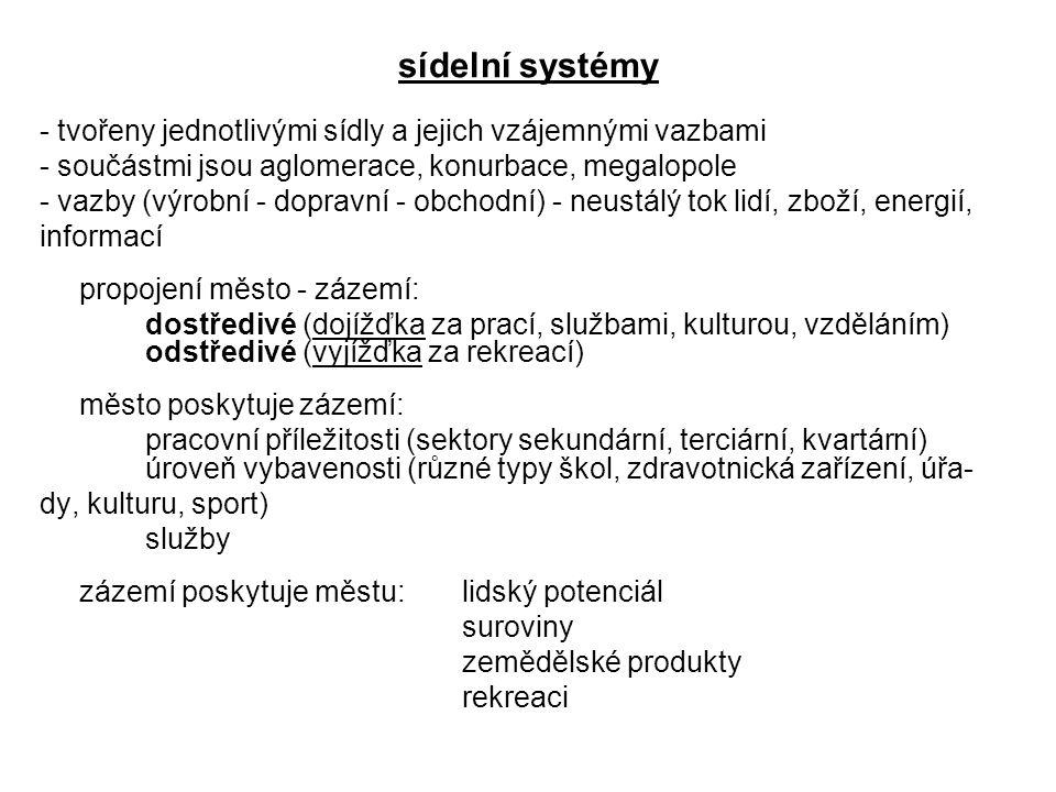 sídelní systémy - tvořeny jednotlivými sídly a jejich vzájemnými vazbami - součástmi jsou aglomerace, konurbace, megalopole - vazby (výrobní - dopravn