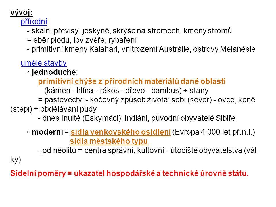 rozdělení: dočasná (přechodná) - v hospodářsky okrajových zónách (primitivní hospodaření, pastevectví) jednoduchá - lovci zvěře (rovník) - kočovní pastevci (step, polopouště) moderní - výzkumníci, přenosné montované stavby (S Rusko, Kanada) trvalá venkovská (sídla vesnického typu - nestředisková sídla) - samota, osada, vesnice méně obydlí (domů - víceposchoďových), obyvatel = menší zalidnění funkce- dříve:spojeny s prvovýrobou (primérem) = hospodaření na půdě (rolnictví, pastevectví) - rozdělení pozemků - později:těžba dřeva, surovin rybolov, lov kožešinové zvěře - dnes:hlavně ve VZ obytná (v zázemí měst - dojížďka za pra- cí)rekreační (pro obyvatele měst) dopravní (v oblasti dopravních uzlů - na hlavních dopravních tazích - zaměstnání)