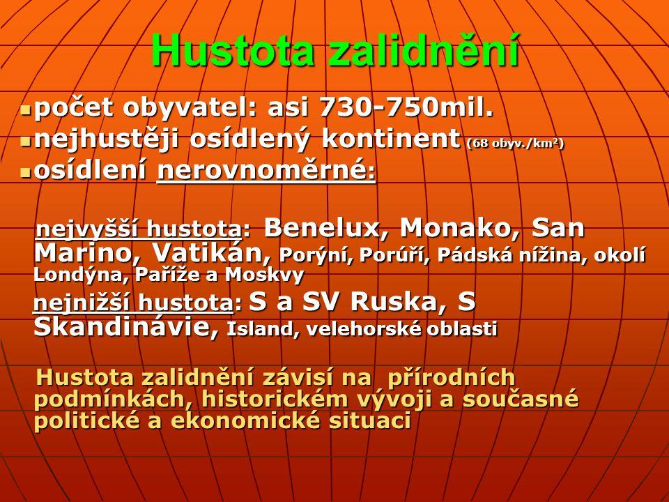 Jazykové skupiny Indoevropské jazyky (většina obyvatel): románské jazyky románské jazyky germánské jazyky germánské jazyky slovanské jazyky slovanské jazyky baltské (litevština a lotyština) baltské (litevština a lotyština) keltské (irština, skotština, velština, bretonština) keltské (irština, skotština, velština, bretonština) Ostatní jazyky: ugrofinské jazyky (estonština, maďarština, finština) ugrofinské jazyky (estonština, maďarština, finština) turečtina turečtina Neznámého původu jsou: albánština, řečtina, baskitčtina obyvatelstvo Evropy patří k europoidní rase přechodnou rasu mezi europoidní a mongoloidní tvoří Estonci, Maďaři a Finové