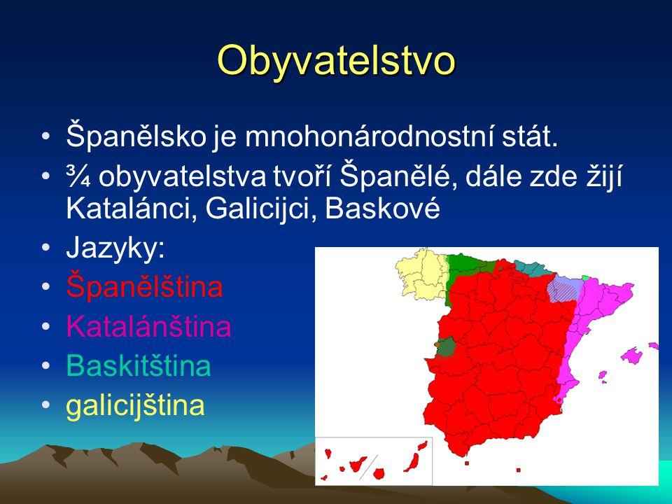 Obyvatelstvo Španělsko je mnohonárodnostní stát. ¾ obyvatelstva tvoří Španělé, dále zde žijí Katalánci, Galicijci, Baskové Jazyky: Španělština Katalán