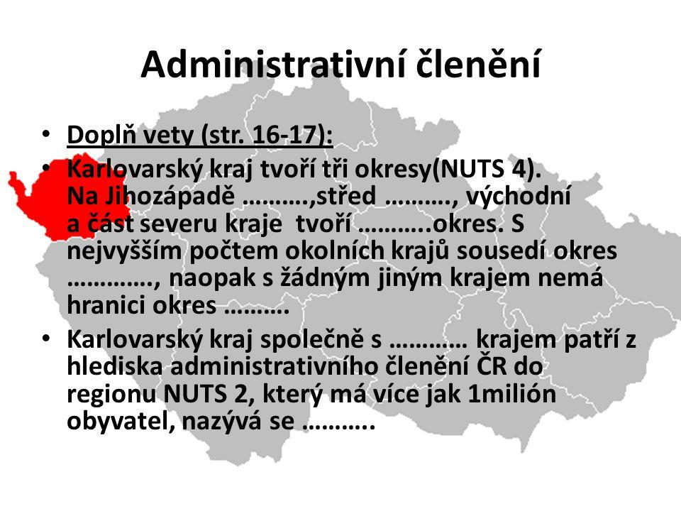 Administrativní členění Doplň vety (str. 16-17): Karlovarský kraj tvoří tři okresy(NUTS 4).