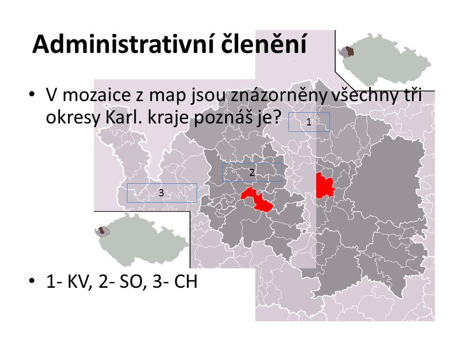 1 3 2 Administrativní členění V mozaice z map jsou znázorněny všechny tři okresy Karl.