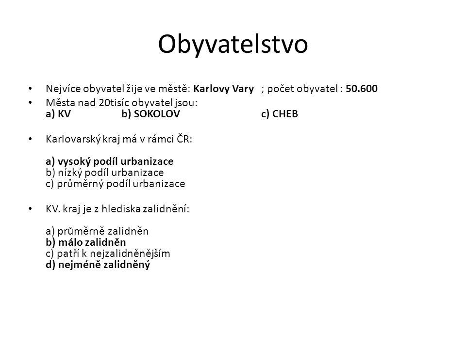 Obyvatelstvo Nejvíce obyvatel žije ve městě: Karlovy Vary; počet obyvatel : 50.600 Města nad 20tisíc obyvatel jsou: a) KVb) SOKOLOVc) CHEB Karlovarský kraj má v rámci ČR: a) vysoký podíl urbanizace b) nízký podíl urbanizace c) průměrný podíl urbanizace KV.