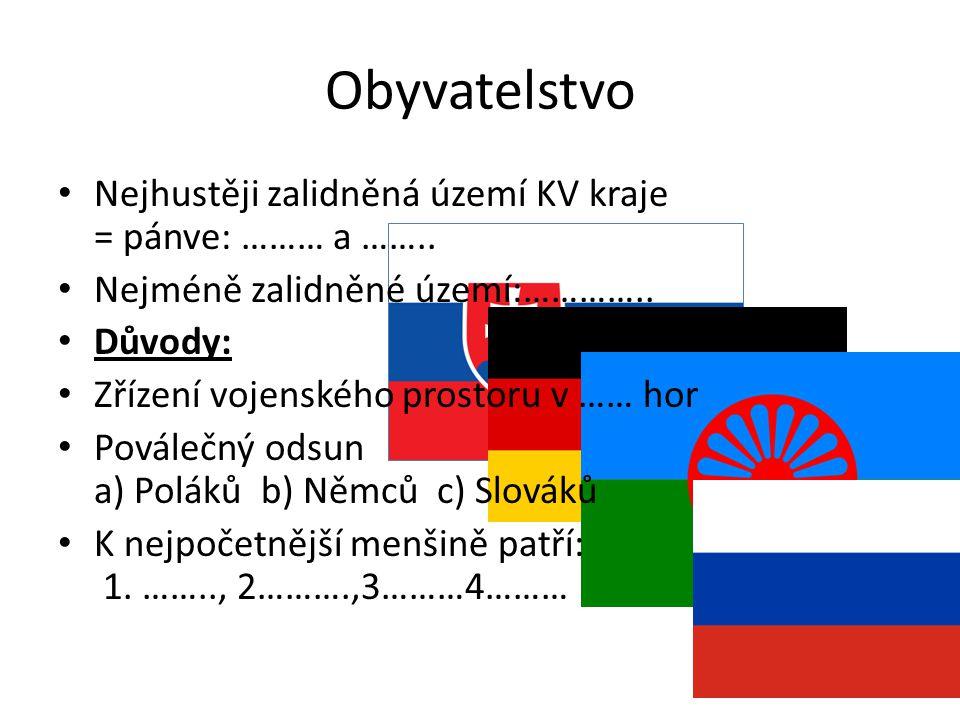 Obyvatelstvo Nejhustěji zalidněná území KV kraje = pánve: ……… a ……..