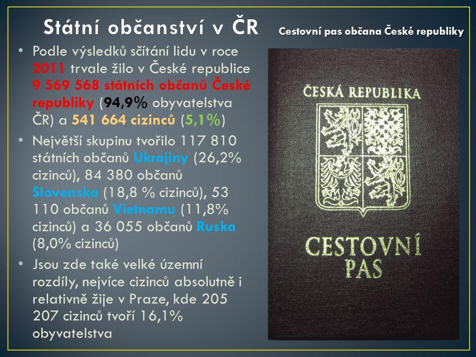 Podle výsledků sčítání lidu v roce 2011 trvale žilo v České republice 9 569 568 státních občanů České republiky (94,9% obyvatelstva ČR) a 541 664 cizinců (5,1%) Největší skupinu tvořilo 117 810 státních občanů Ukrajiny (26,2% cizinců), 84 380 občanů Slovenska (18,8 % cizinců), 53 110 občanů Vietnamu (11,8% cizinců) a 36 055 občanů Ruska (8,0% cizinců) Jsou zde také velké územní rozdíly, nejvíce cizinců absolutně i relativně žije v Praze, kde 205 207 cizinců tvoří 16,1% obyvatelstva Cestovní pas občana České republiky