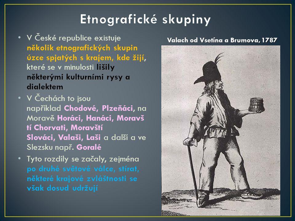 V České republice existuje několik etnografických skupin úzce spjatých s krajem, kde žijí, které se v minulosti lišily některými kulturními rysy a dialektem V Čechách to jsou například Chodové, Plzeňáci, na Moravě Horáci, Hanáci, Moravš tí Chorvati, Moravští Slováci, Valaši, Laši a další a ve Slezsku např.