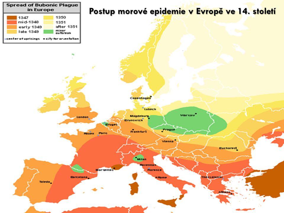 Postup morové epidemie v Evropě ve 14. století