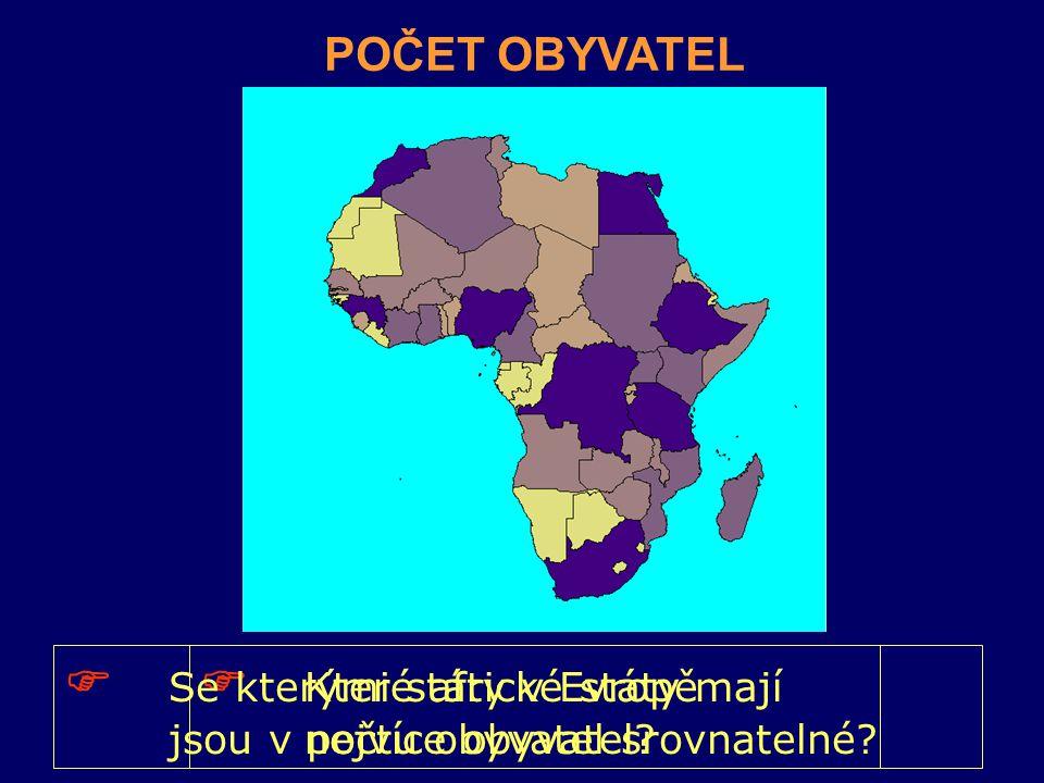 POČET OBYVATEL  Které africké státy mají nejvíce obyvatel?  Se kterými státy v Evropě jsou v počtu obyvatel srovnatelné?