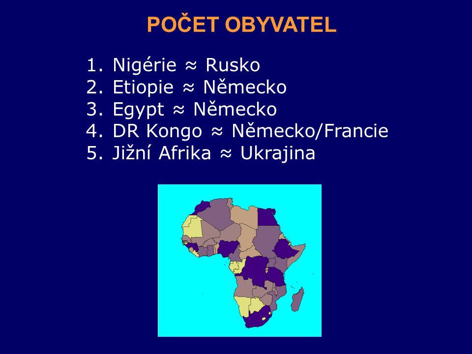 1.Nigérie ≈ Rusko 2.Etiopie ≈ Německo 3.Egypt ≈ Německo 4.DR Kongo ≈ Německo/Francie 5.Jižní Afrika ≈ Ukrajina POČET OBYVATEL