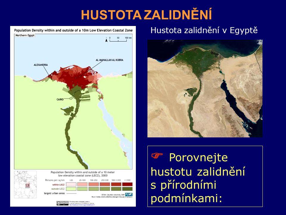 Hustota zalidnění v Egyptě  Porovnejte hustotu zalidnění s přírodními podmínkami: HUSTOTA ZALIDNĚNÍ