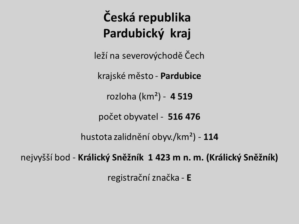 Česká republika Pardubický kraj leží na severovýchodě Čech krajské město - Pardubice rozloha (km²) - 4 519 počet obyvatel - 516 476 hustota zalidnění obyv./km²) - 114 nejvyšší bod - Králický Sněžník 1 423 m n.
