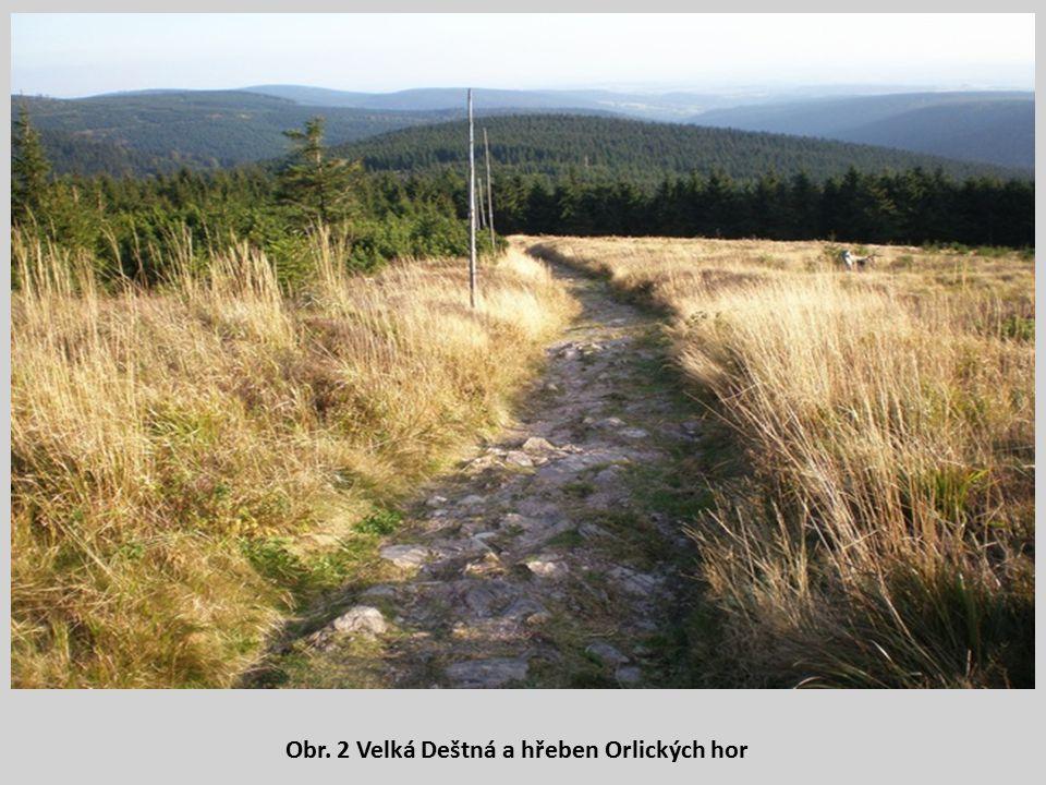 Obr. 2 Velká Deštná a hřeben Orlických hor