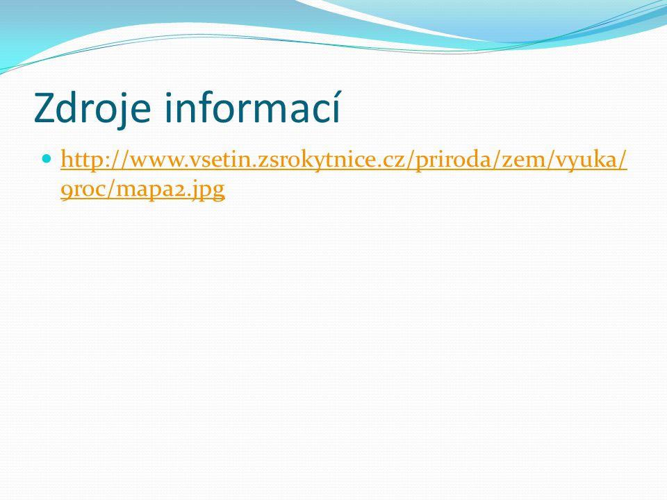 Zdroje informací http://www.vsetin.zsrokytnice.cz/priroda/zem/vyuka/ 9roc/mapa2.jpg http://www.vsetin.zsrokytnice.cz/priroda/zem/vyuka/ 9roc/mapa2.jpg