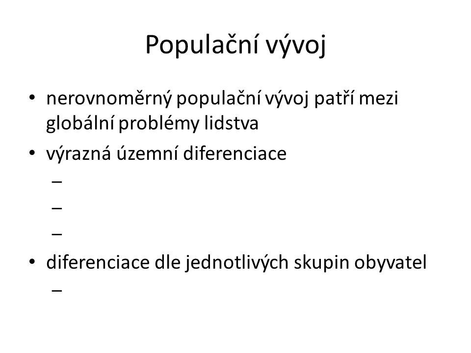 Populační vývoj nerovnoměrný populační vývoj patří mezi globální problémy lidstva výrazná územní diferenciace – diferenciace dle jednotlivých skupin o