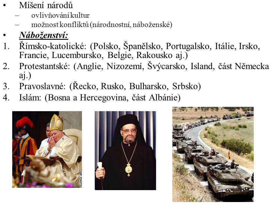Míšení národů –ovlivňování kultur –možnost konfliktů (národnostní, náboženské) Náboženství: 1.Římsko-katolické: (Polsko, Španělsko, Portugalsko, Itáli