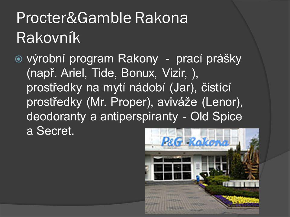 Procter&Gamble Rakona Rakovník  výrobní program Rakony - prací prášky (např. Ariel, Tide, Bonux, Vizir, ), prostředky na mytí nádobí (Jar), čistící p