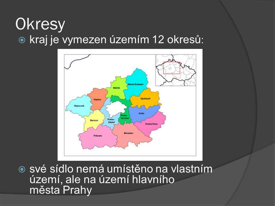 Okresy  kraj je vymezen územím 12 okresů :  své sídlo nemá umístěno na vlastním území, ale na území hlavního města Prahy