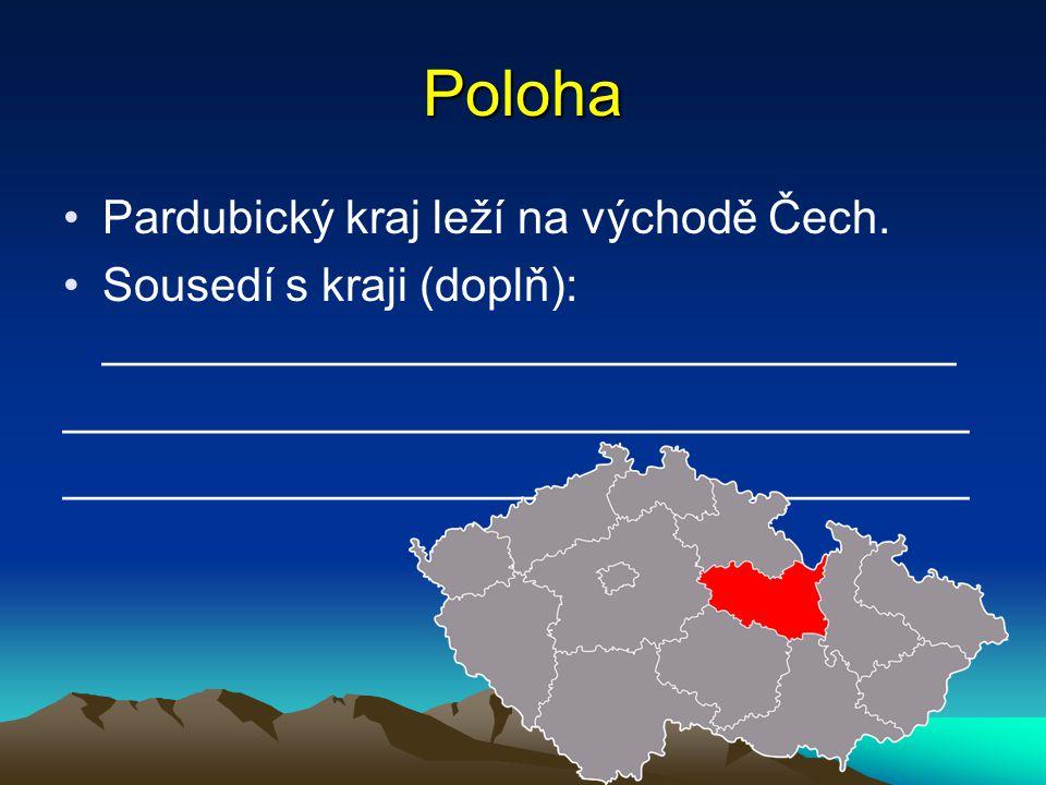 Poloha Pardubický kraj leží na východě Čech. Sousedí s kraji (doplň): _________________________________ ___________________________________
