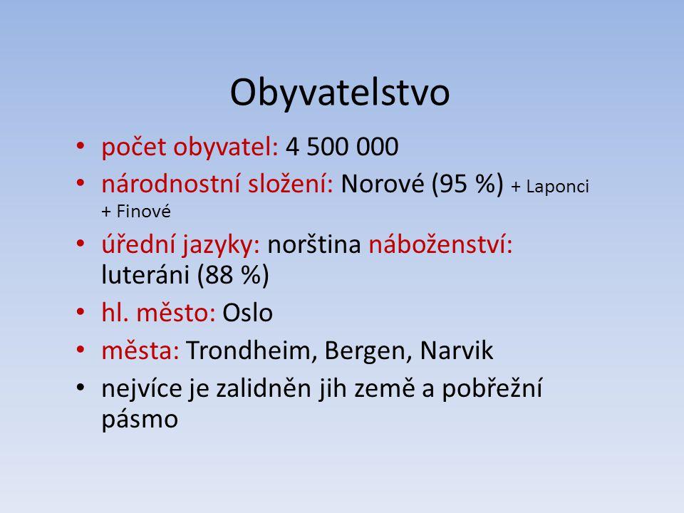 Obyvatelstvo počet obyvatel: 4 500 000 národnostní složení: Norové (95 %) + Laponci + Finové úřední jazyky: norština náboženství: luteráni (88 %) hl.