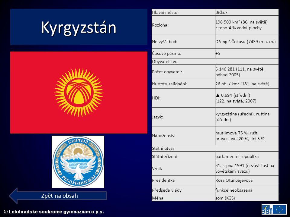 © Letohradské soukromé gymnázium o.p.s. Kyrgyzstán Zpět na obsah Hlavní město:Biškek Rozloha: 198 500 km² (86. na světě) z toho 4 % vodní plochy Nejvy