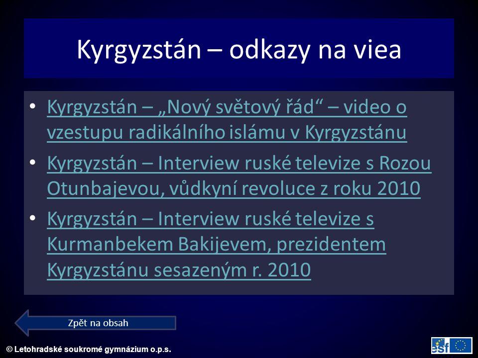 """© Letohradské soukromé gymnázium o.p.s. Kyrgyzstán – """"Nový světový řád"""" – video o vzestupu radikálního islámu v Kyrgyzstánu Kyrgyzstán – """"Nový světový"""
