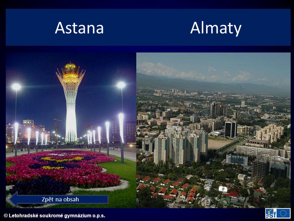 © Letohradské soukromé gymnázium o.p.s. Astana Almaty Zpět na obsah