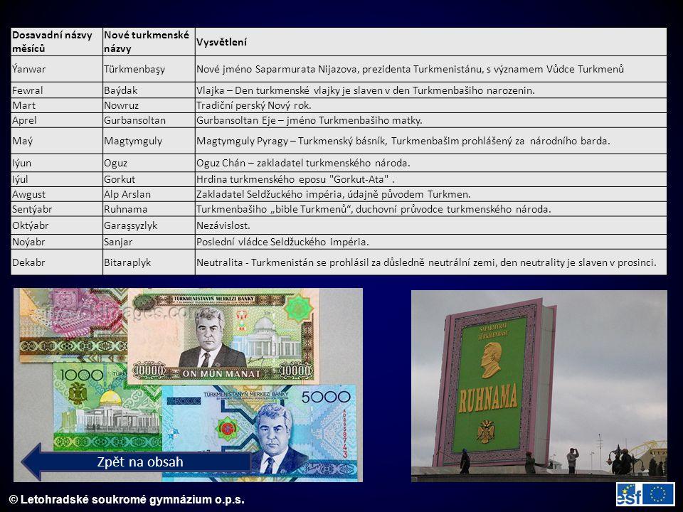 © Letohradské soukromé gymnázium o.p.s. Zpět na obsah Dosavadní názvy měsíců Nové turkmenské názvy Vysvětlení ÝanwarTürkmenbaşyNové jméno Saparmurata