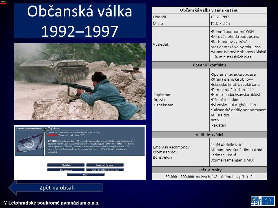 © Letohradské soukromé gymnázium o.p.s. Občanská válka 1992–1997 Zpět na obsah Občanská válka v Tádžikistánu Období1992–1997 MístoTádžikistán Výsledek