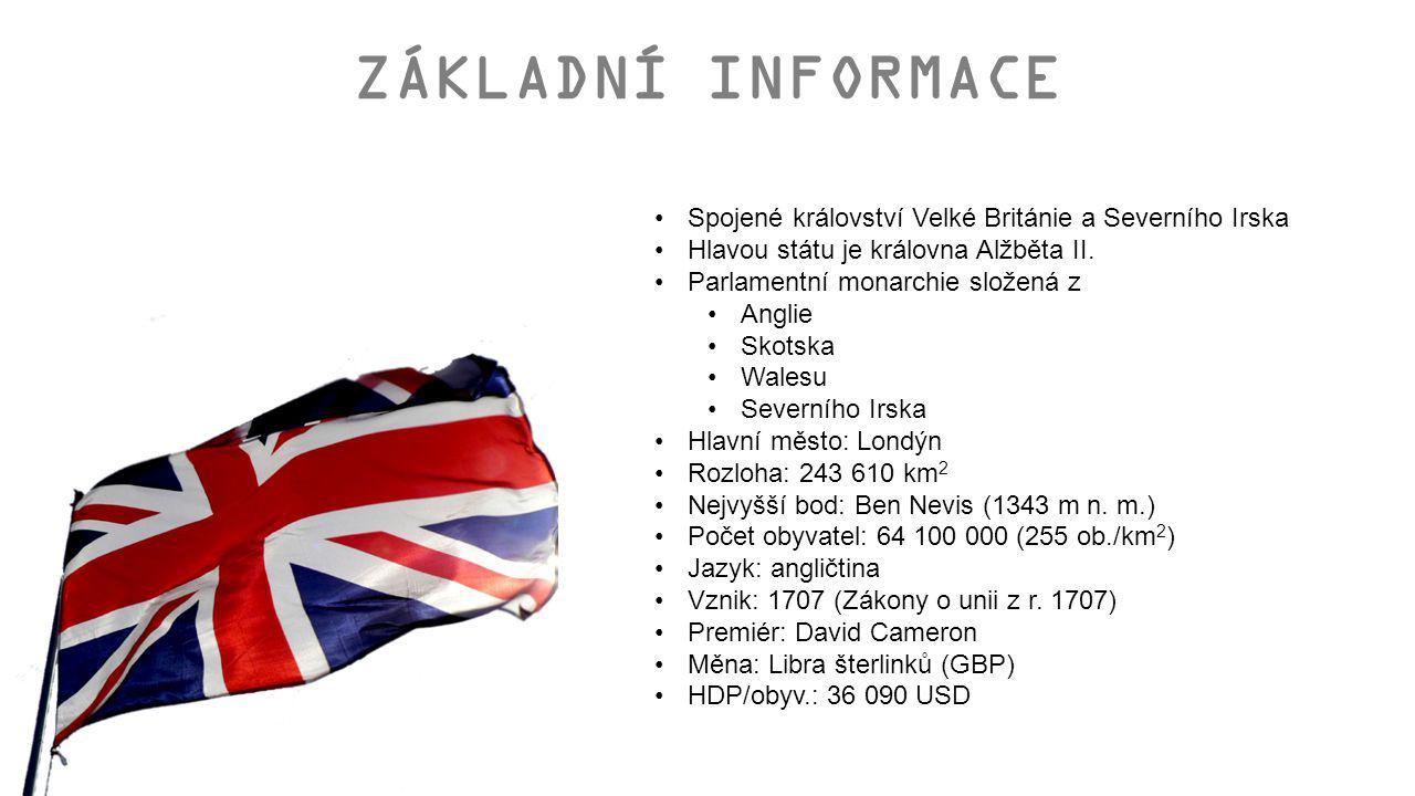 ZÁKLADNÍ INFORMACE Spojené království Velké Británie a Severního Irska Hlavou státu je královna Alžběta II. Parlamentní monarchie složená z Anglie Sko