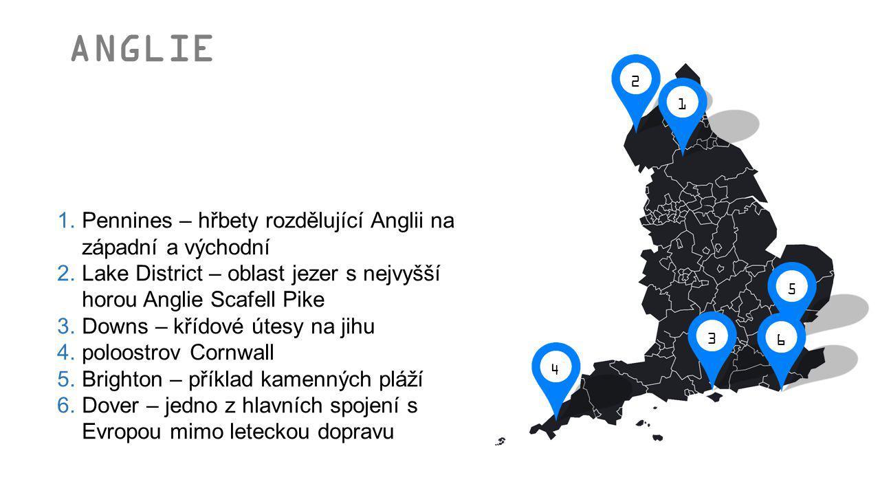 1.Pennines – hřbety rozdělující Anglii na západní a východní 2.Lake District – oblast jezer s nejvyšší horou Anglie Scafell Pike 3.Downs – křídové úte
