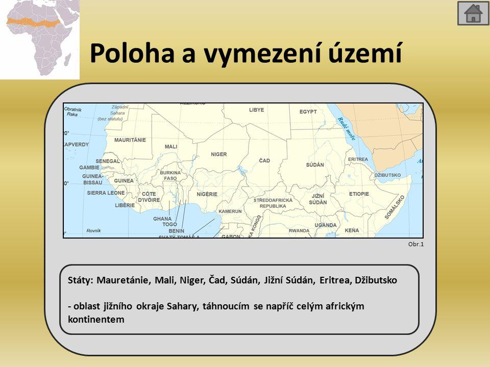 Poloha a vymezení území Státy: Mauretánie, Mali, Niger, Čad, Súdán, Jižní Súdán, Eritrea, Džibutsko - oblast jižního okraje Sahary, táhnoucím se napříč celým africkým kontinentem Obr.1
