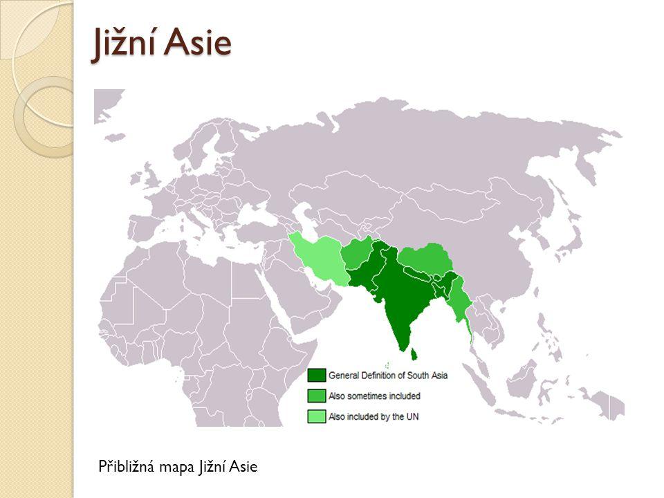 Jižní Asie Přibližná mapa Jižní Asie