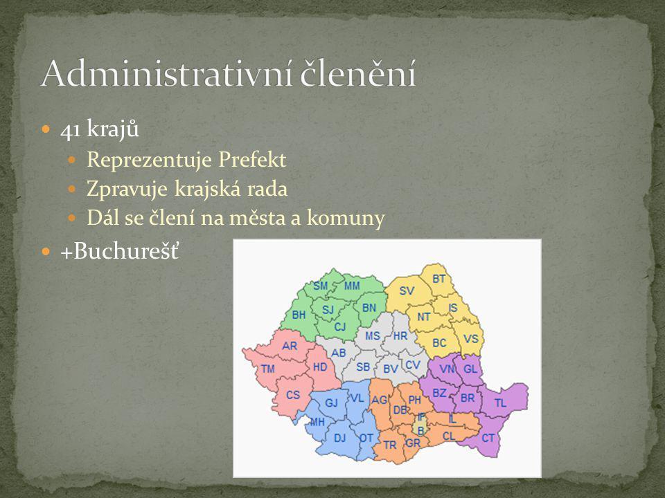 41 krajů Reprezentuje Prefekt Zpravuje krajská rada Dál se člení na města a komuny +Buchurešť
