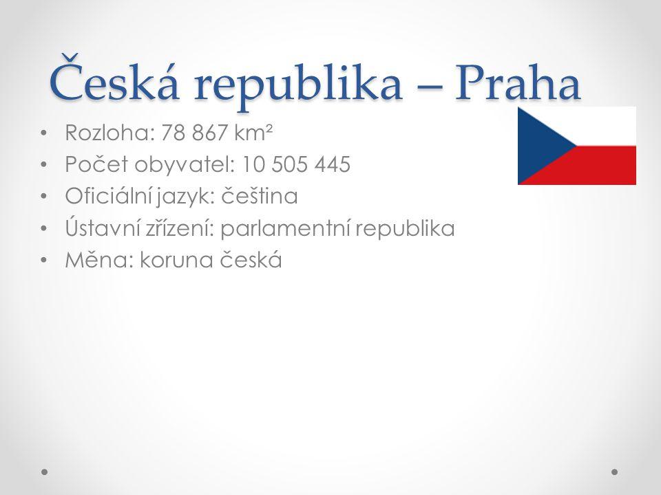 Česká republika – Praha Rozloha: 78 867 km² Počet obyvatel: 10 505 445 Oficiální jazyk: čeština Ústavní zřízení: parlamentní republika Měna: koruna če