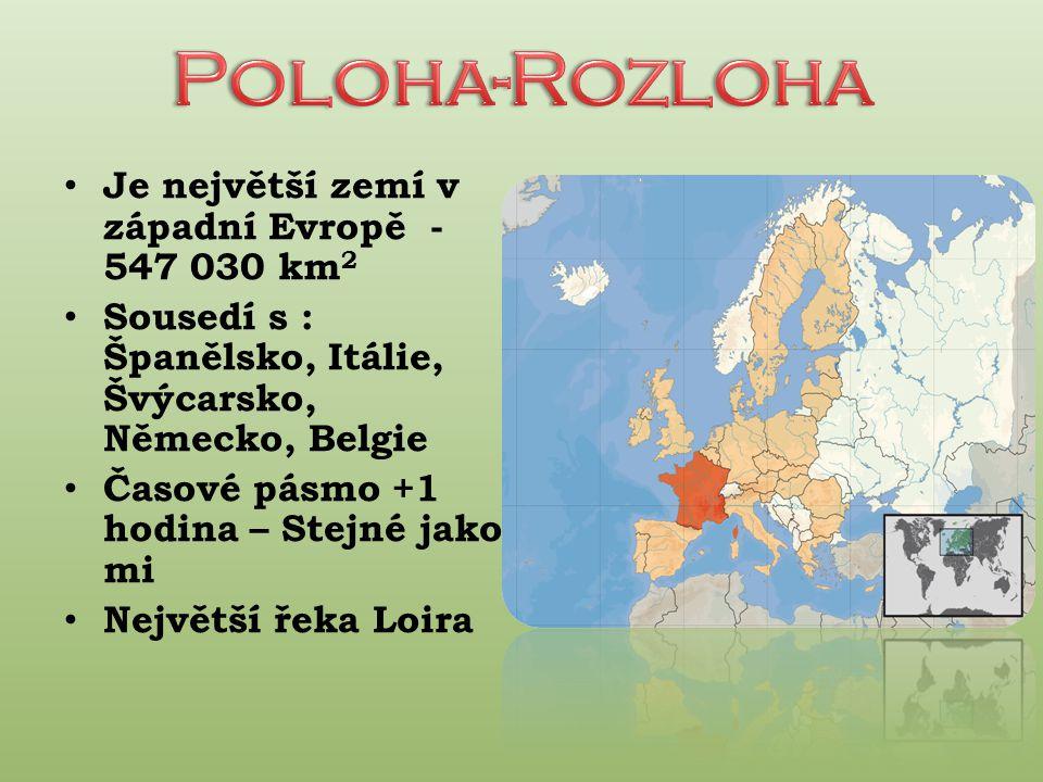 Je největší zemí v západní Evropě - 547 030 km 2 Sousedí s : Španělsko, Itálie, Švýcarsko, Německo, Belgie Časové pásmo +1 hodina – Stejné jako mi Největší řeka Loira