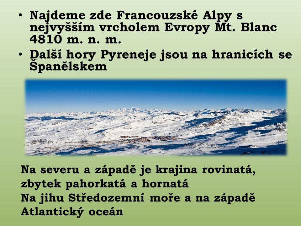 Najdeme zde Francouzské Alpy s nejvyšším vrcholem Evropy Mt.