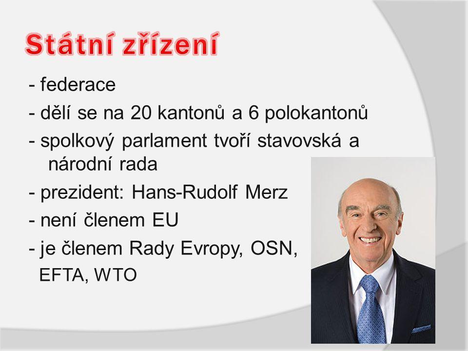 - federace - dělí se na 20 kantonů a 6 polokantonů - spolkový parlament tvoří stavovská a národní rada - prezident: Hans-Rudolf Merz - není členem EU