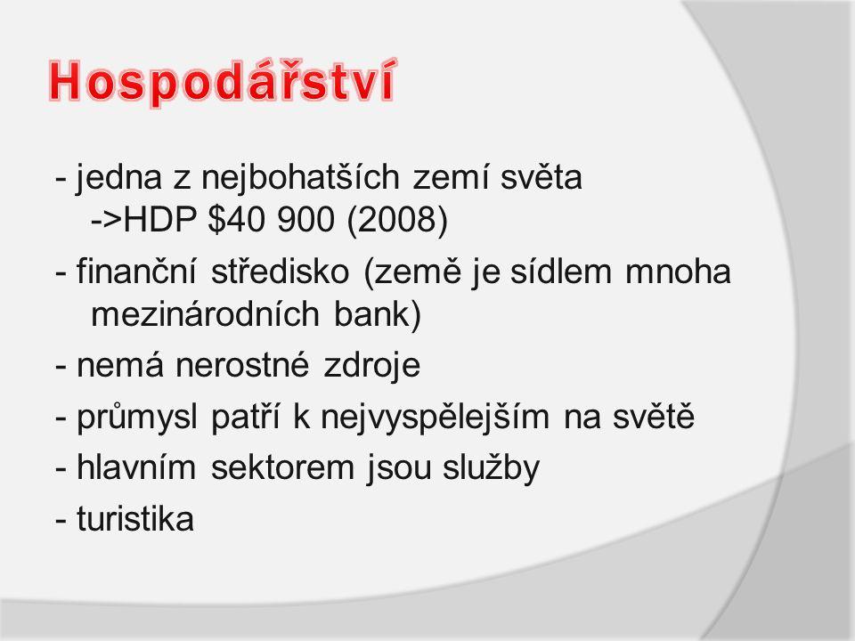 - jedna z nejbohatších zemí světa ->HDP $40 900 (2008) - finanční středisko (země je sídlem mnoha mezinárodních bank) - nemá nerostné zdroje - průmysl