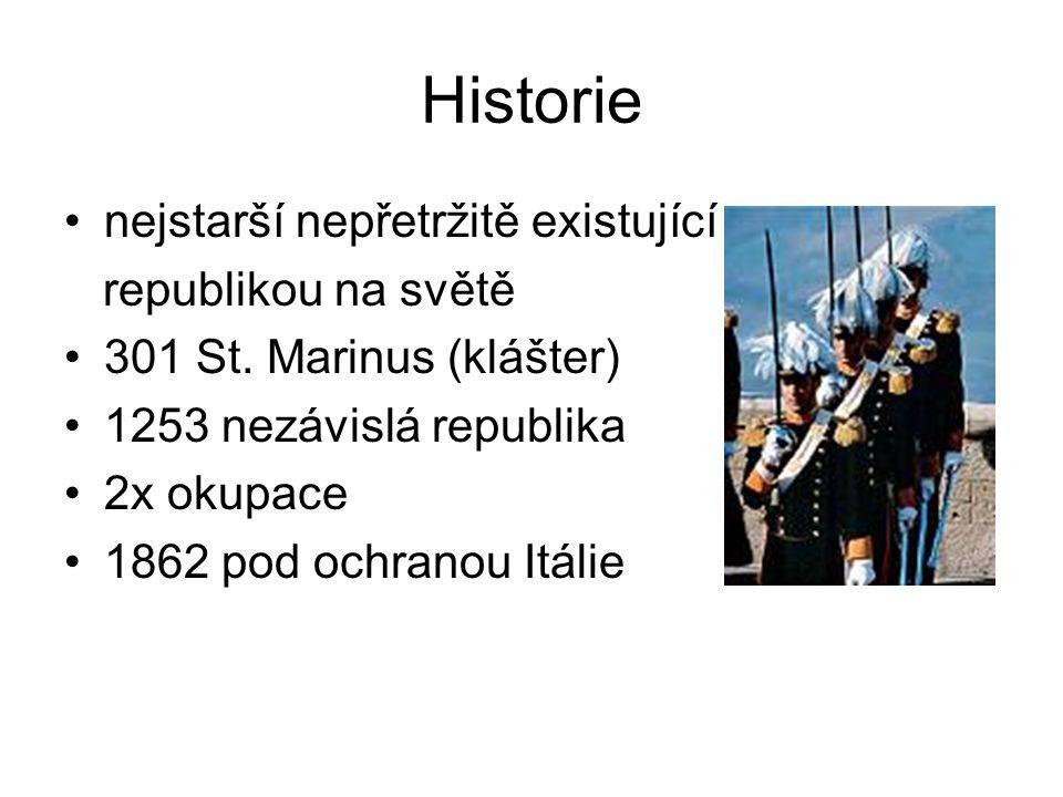 Historie nejstarší nepřetržitě existující republikou na světě 301 St. Marinus (klášter) 1253 nezávislá republika 2x okupace 1862 pod ochranou Itálie