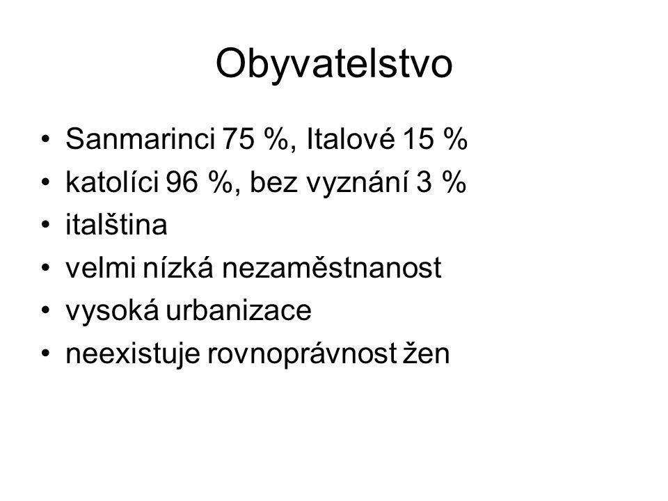 Obyvatelstvo Sanmarinci 75 %, Italové 15 % katolíci 96 %, bez vyznání 3 % italština velmi nízká nezaměstnanost vysoká urbanizace neexistuje rovnoprávn