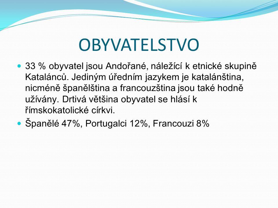 OBYVATELSTVO 33 % obyvatel jsou Andořané, náležící k etnické skupině Katalánců. Jediným úředním jazykem je katalánština, nicméně španělština a francou