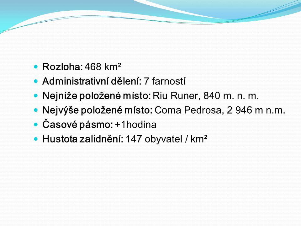 Rozloha: 468 km² Administrativní dělení: 7 farností Nejníže položené místo: Riu Runer, 840 m. n. m. Nejvýše položené místo: Coma Pedrosa, 2 946 m n.m.
