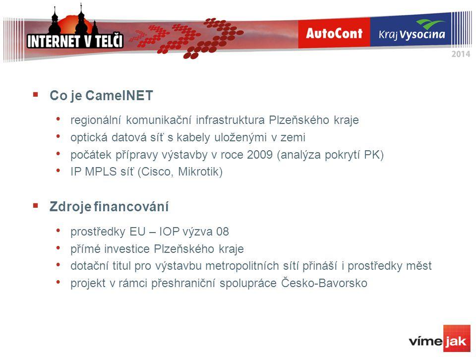  Co je CamelNET regionální komunikační infrastruktura Plzeňského kraje optická datová síť s kabely uloženými v zemi počátek přípravy výstavby v roce