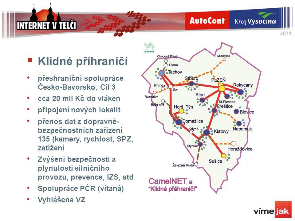  Klidné příhraničí přeshraniční spolupráce Česko-Bavorsko, Cíl 3 cca 20 mil Kč do vláken připojení nových lokalit přenos dat z dopravně- bezpečnostní