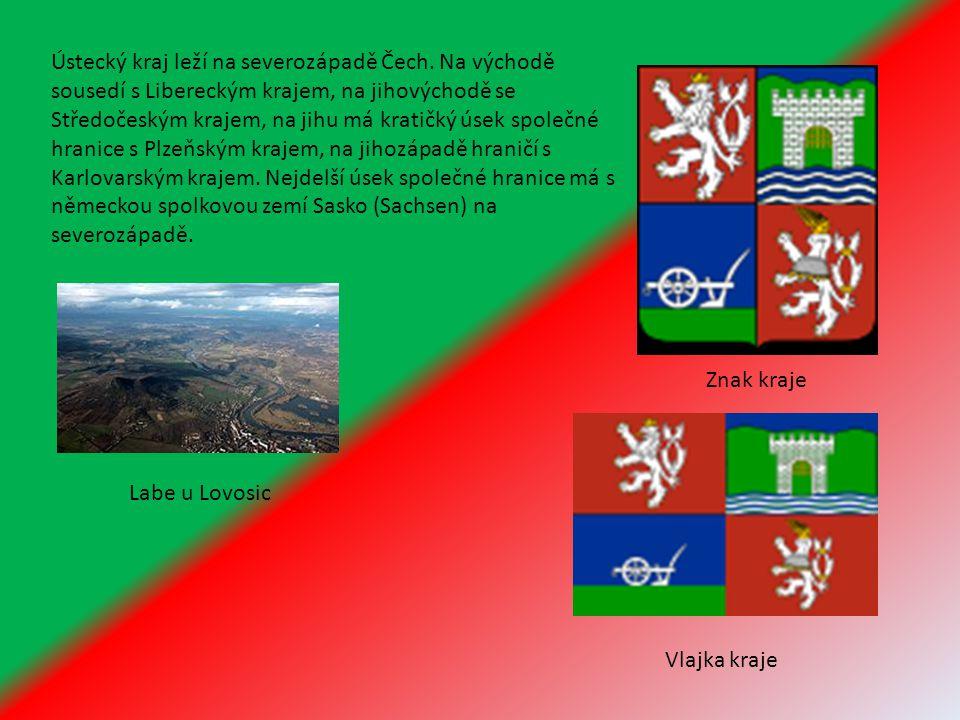 Ústecký kraj leží na severozápadě Čech. Na východě sousedí s Libereckým krajem, na jihovýchodě se Středočeským krajem, na jihu má kratičký úsek společ