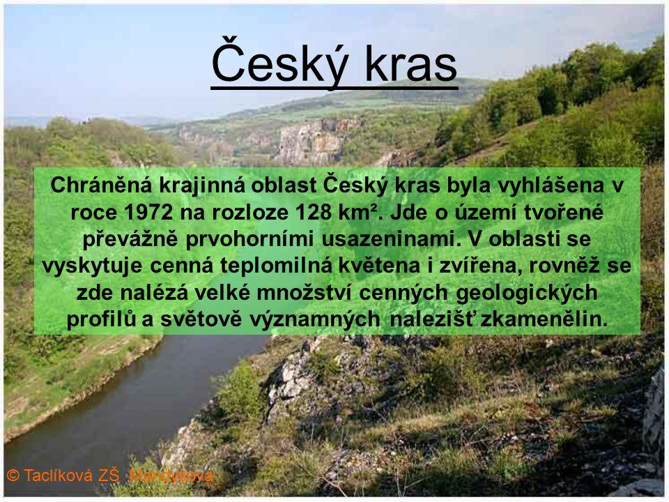 Český kras Chráněná krajinná oblast Český kras byla vyhlášena v roce 1972 na rozloze 128 km². Jde o území tvořené převážně prvohorními usazeninami. V