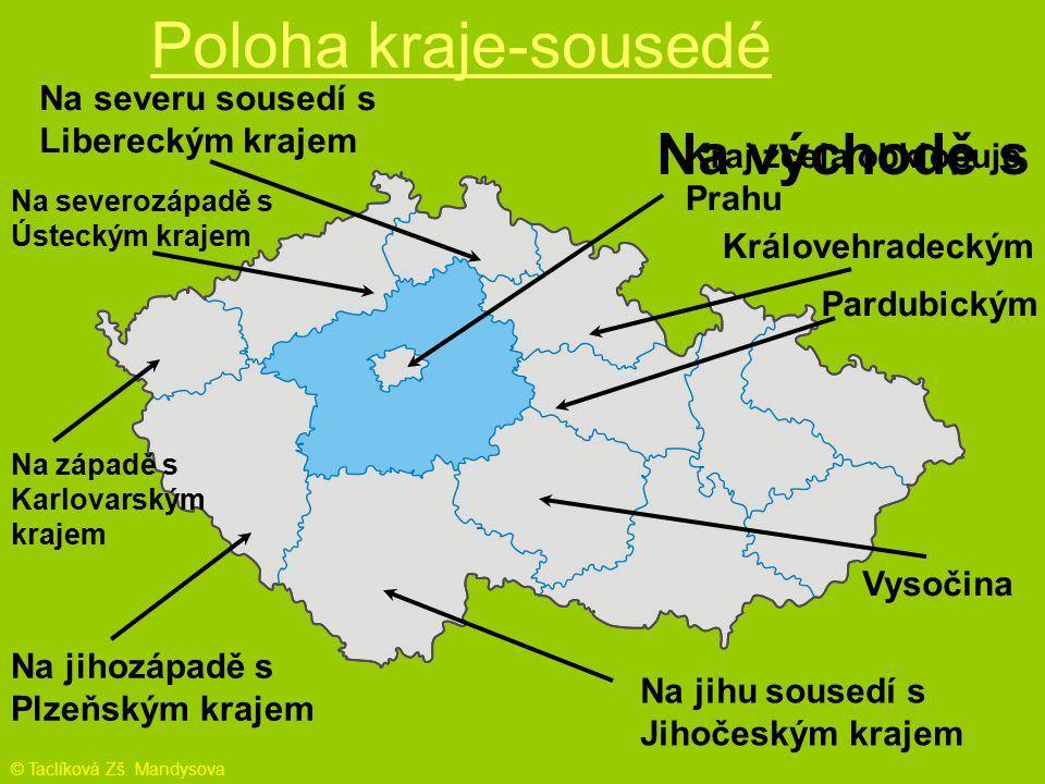 Poloha kraje-sousedé Kraj zcela obklopuje Prahu Na jihu sousedí s Jihočeským krajem Na severu sousedí s Libereckým krajem Na jihozápadě s Plzeňským kr