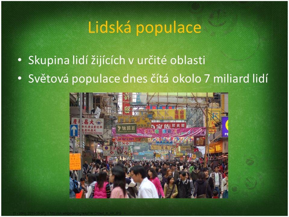 Lidská populace Skupina lidí žijících v určité oblasti Světová populace dnes čítá okolo 7 miliard lidí [1 - zdroj. 2011-15-07].